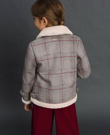 Printed faux shearling jacket Houndstooth Print Child 192GJ2300-03