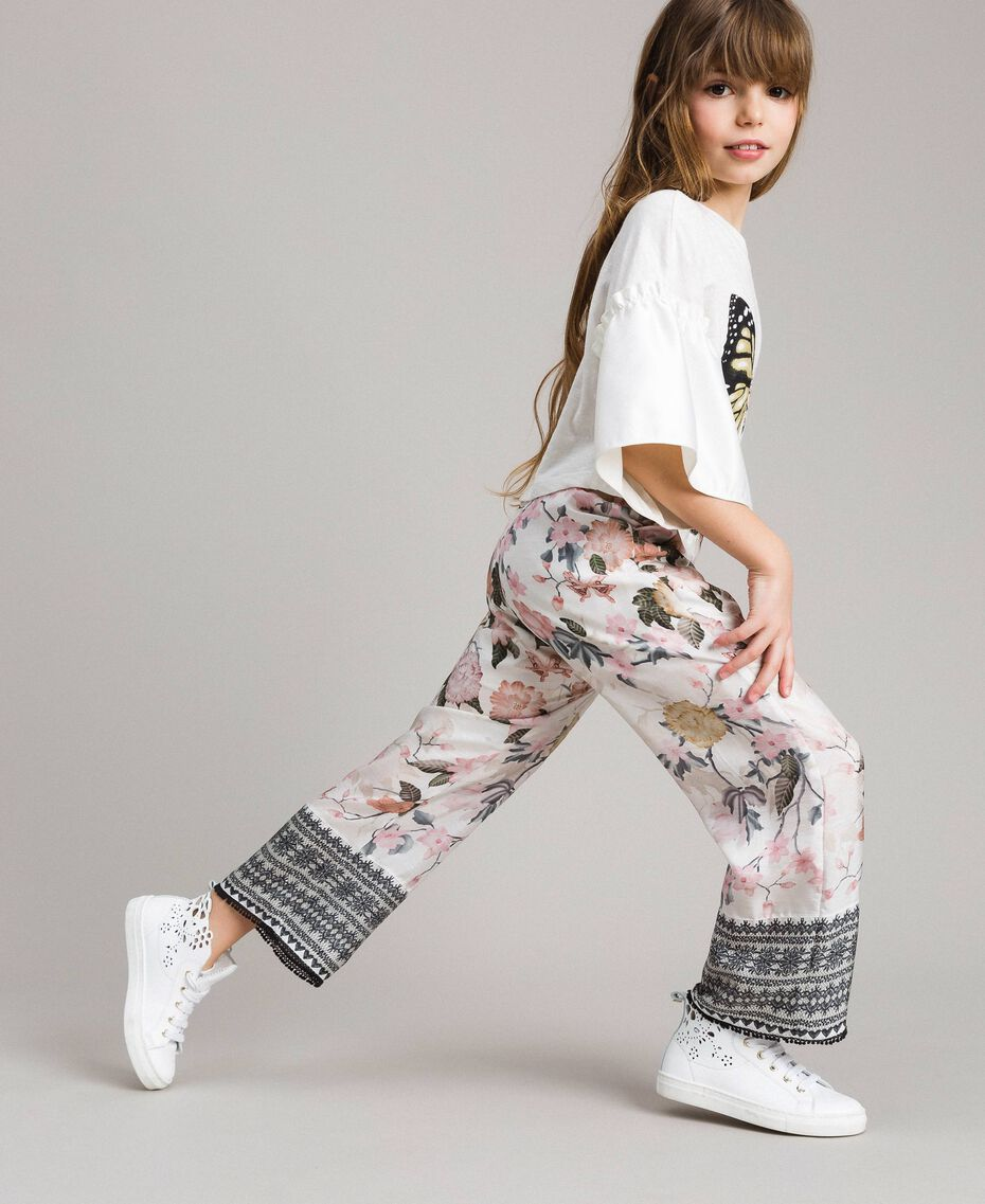 Floral viscose trousers with lace print Ramage Butterfly Print Child 191GJ2522-02