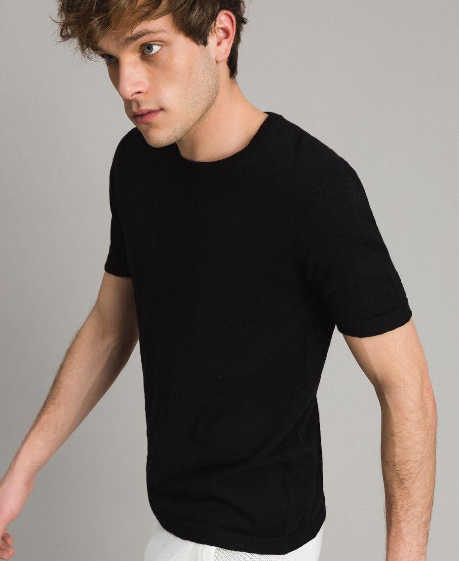 T-Shirt aus Slub-Baumwollmischung Schwarz Mann 191UT3071-02