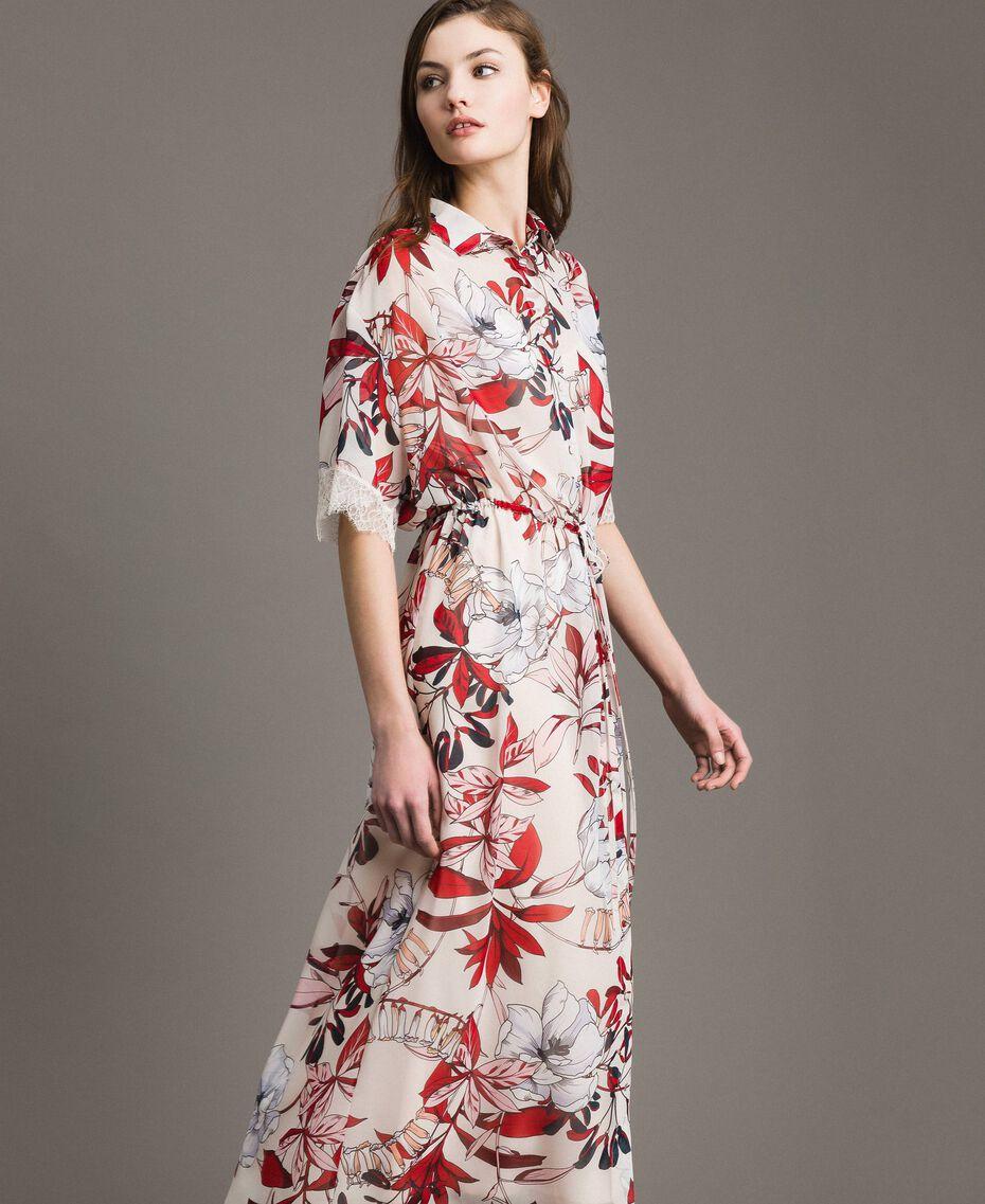 Robe longue en georgette à imprimé floral Imprimé Exotique Écru Femme 191ST2224-02