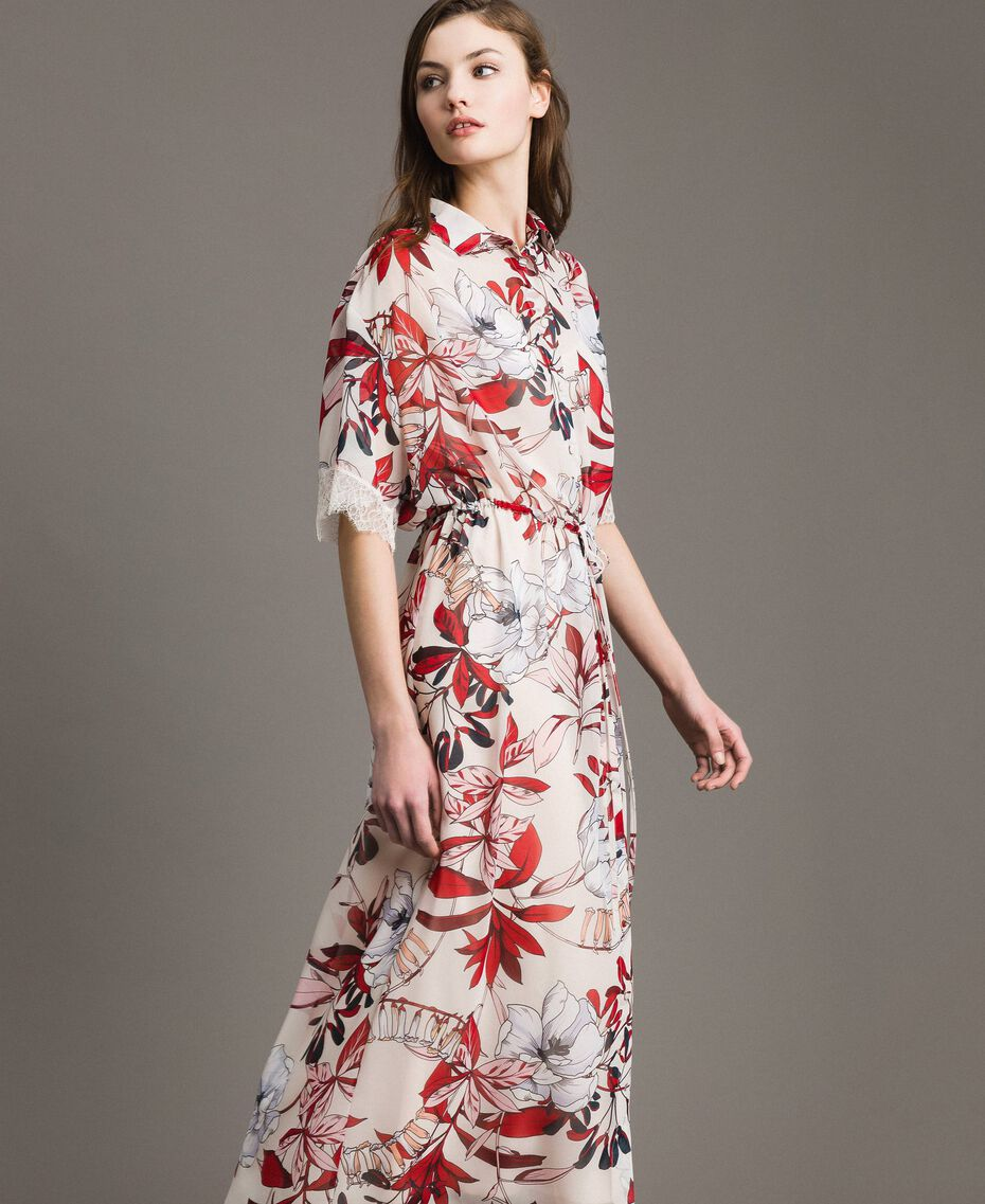 Long floral print georgette dress Exotic Ecru Print Woman 191ST2224-02