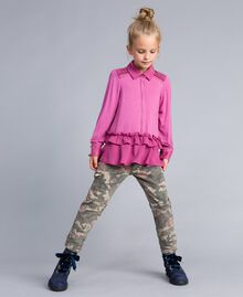 Printed canvas cargo trousers Camouflage Print Child GA82EB-02