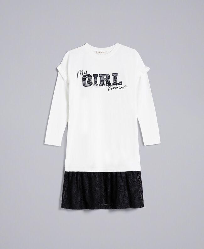 Kleid aus Viskose mit Spitze Zweifarbig Off White / Schwarz Kind GA83BN-01