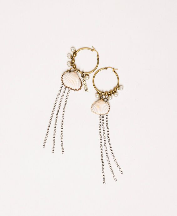 Loop earrings with shell and fringes