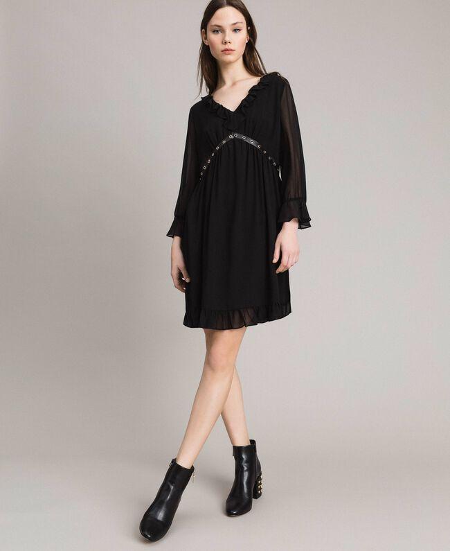 Robe en georgette à froufrous Noir Femme 191MP2391-01
