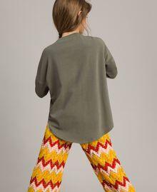 Maxi-T-Shirt mit Aufdruck und Strass Tundra-Grün Kind 191GJ2771-04