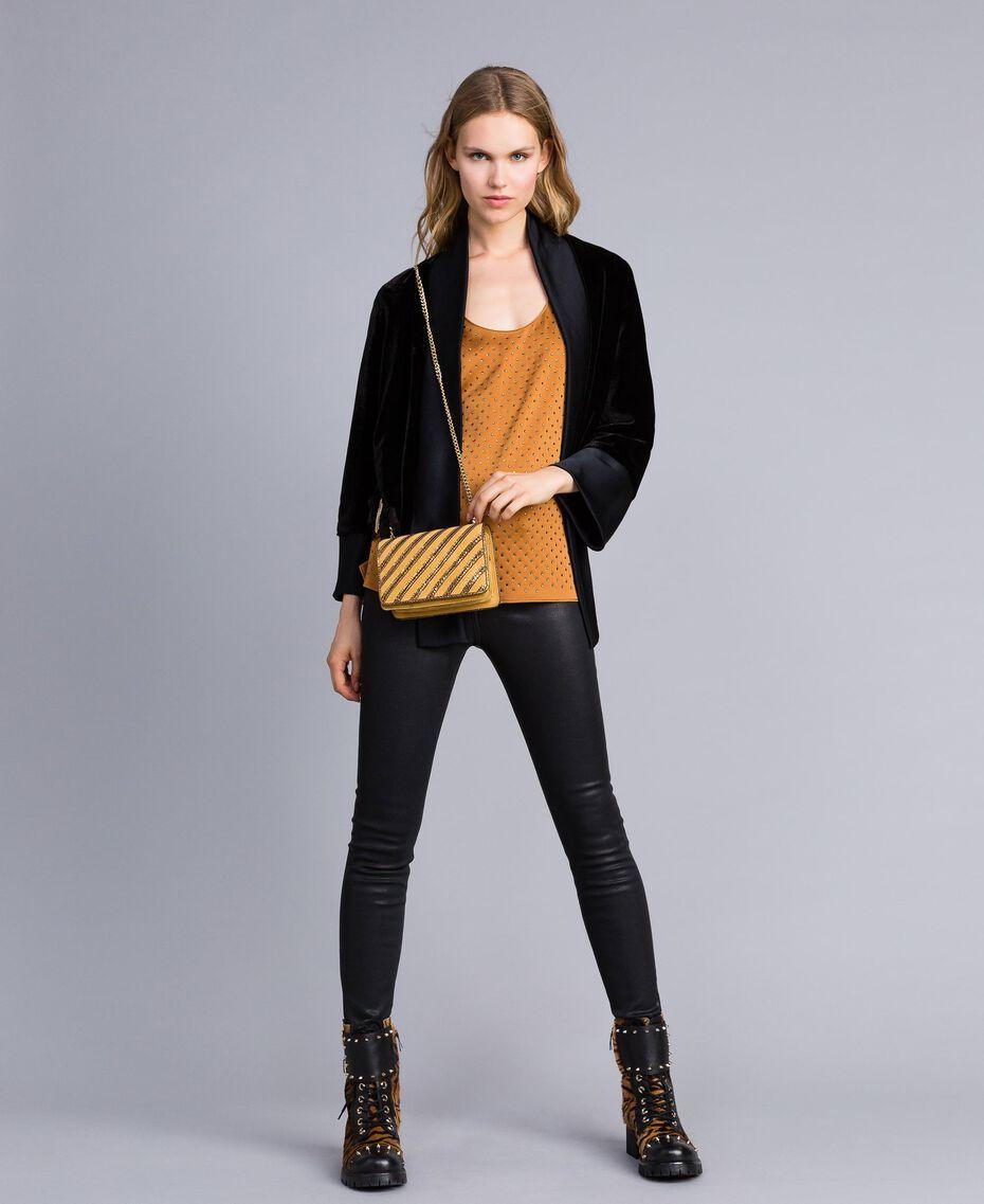 Mini sac à bandoulière en cuir velours Ocre Foncé Femme OA8TD2-0T