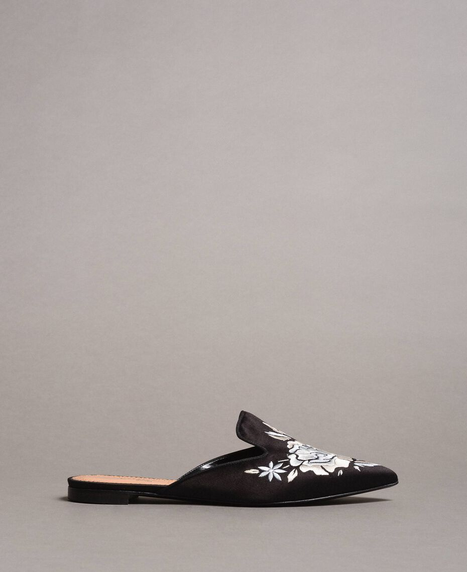 Embroidered satin mules Black Woman 191TCT014-02