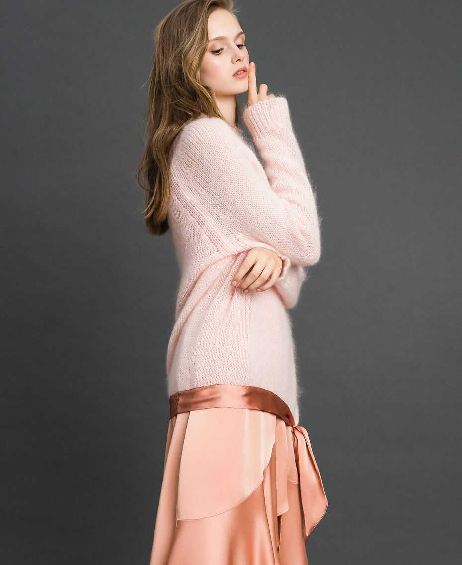 "Mohair jumper with silk blend bow ""Opal"" Pink Woman 192TT3273-02"