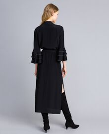 Long silk blend dress with rhinestones Black Woman TA8233-06