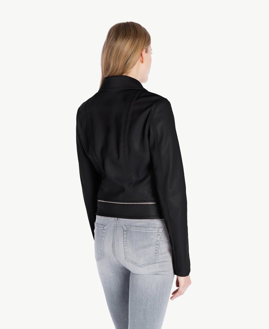 Faux leather biker jacket Black Woman JS82CC-03