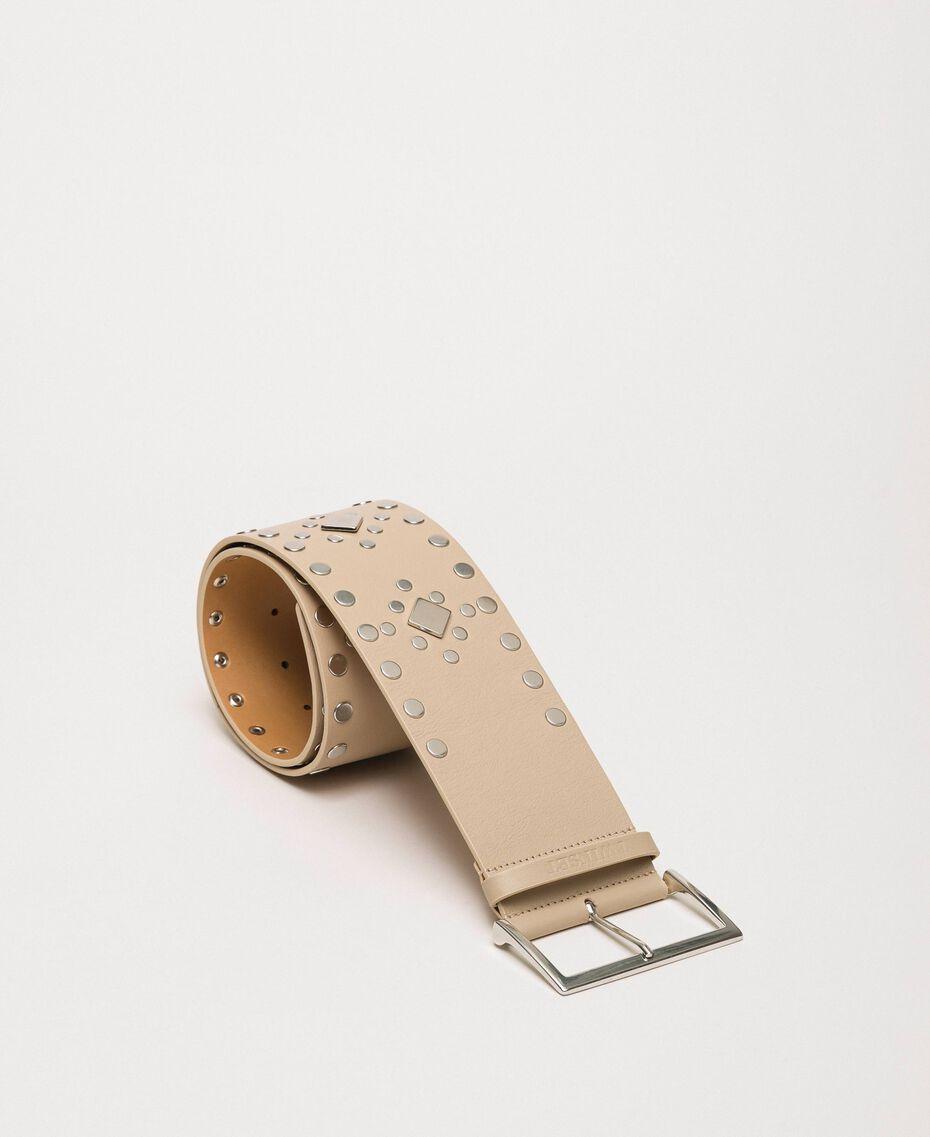 Кожаный ремень высокой посадки с заклепками Черный женщина 201TO5342-02