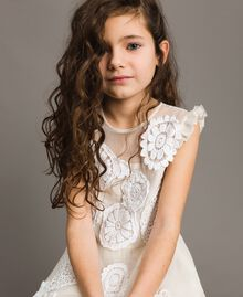 Muslin long dress with embroideries Two-tone Chantilly / Off White Child 191GJ2Q30-04