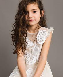 Vestido largo de muselina con bordados Bicolor Chantilly / Off White Niño 191GJ2Q30-04