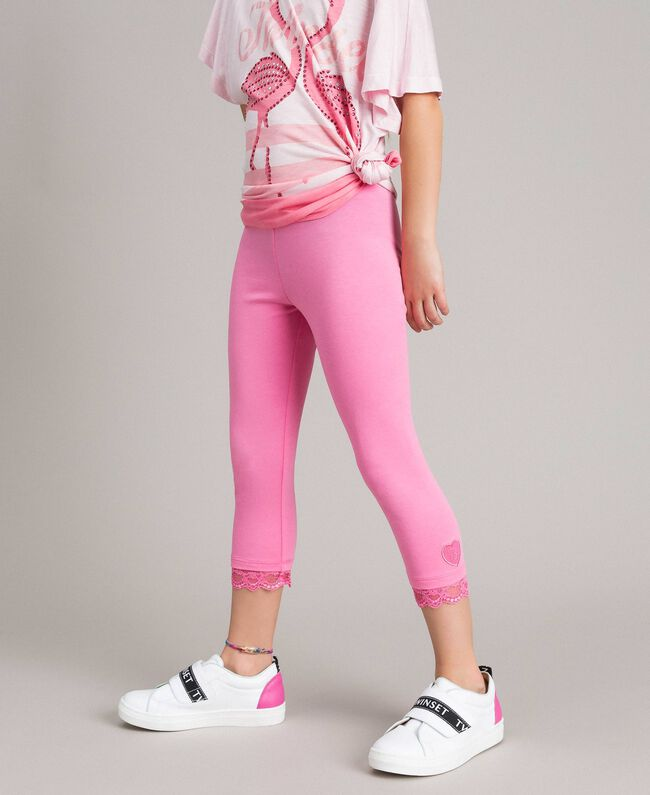 "Jersey leggings with lace ""Crystal Pink"" Child 191GJ2183-03"