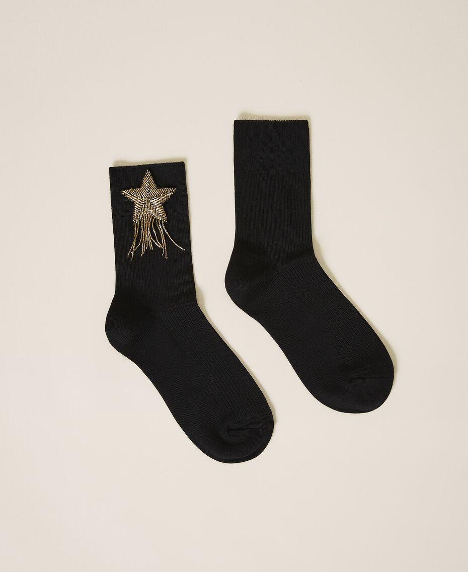Носки с вышитой нашивкой Черный женщина 202TA436A-01