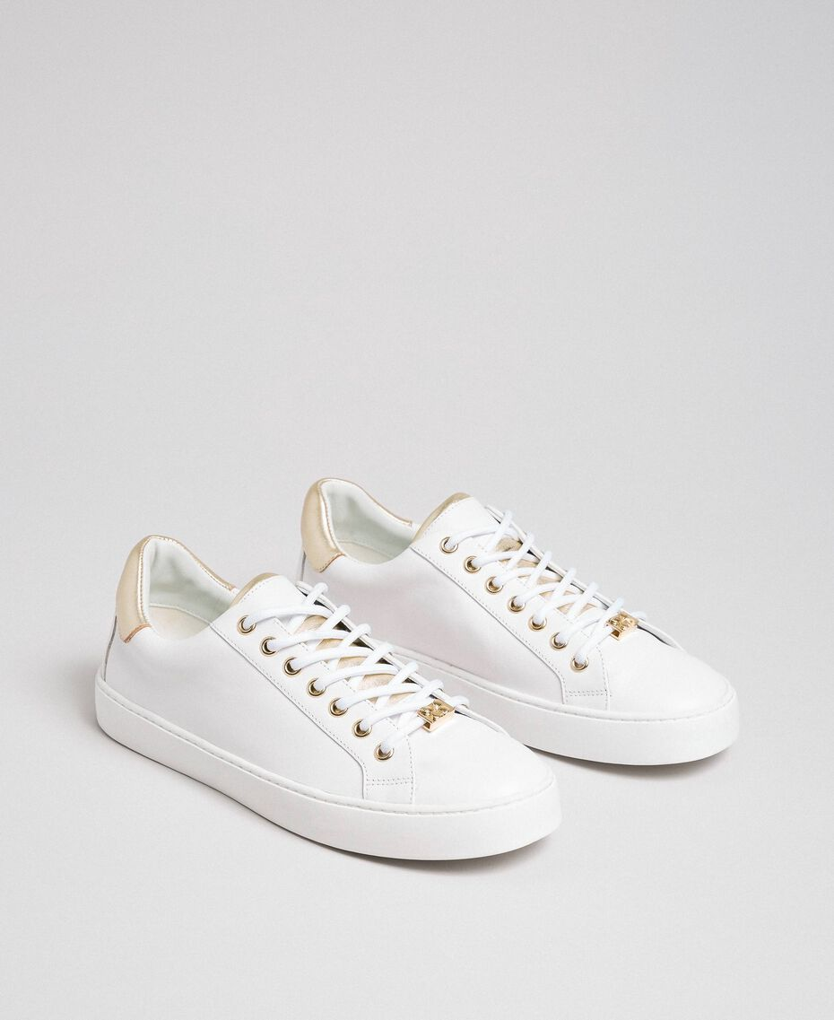 Leather trainers with contrasting details White Woman 192TCP06E-01
