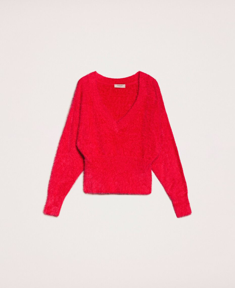 Fur effect yarn jumper Black Cherry Woman 201TP3092-0S
