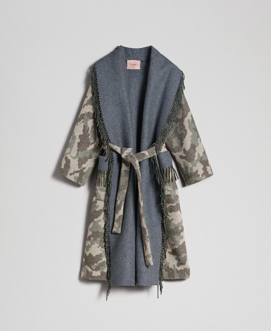 Camouflage wool cloth coat with fringes Camouflage Jacquard Woman 192TT2502-0S
