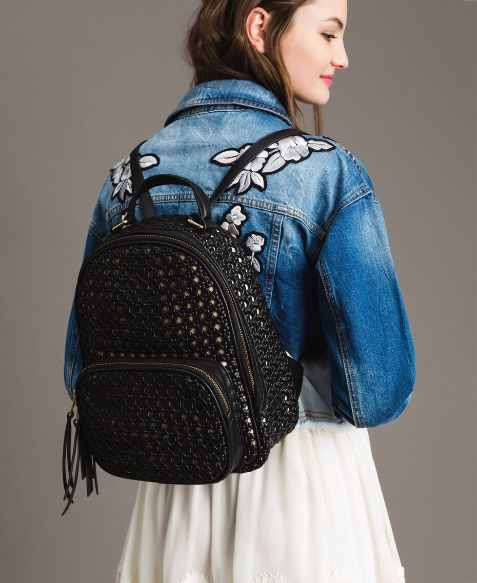 Braided faux leather backpack Black Woman 191TO8010-0S