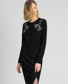 Wool and cashmere Mandarin collar top with floral embroidery Black Woman 192TP3330-01