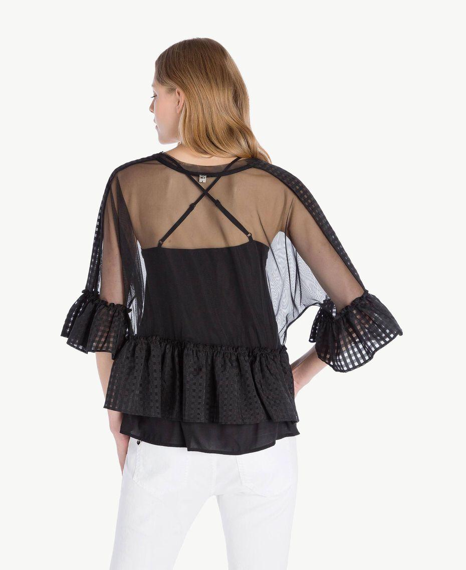 Bluse aus Tüll Schwarz Frau YS82GP-03