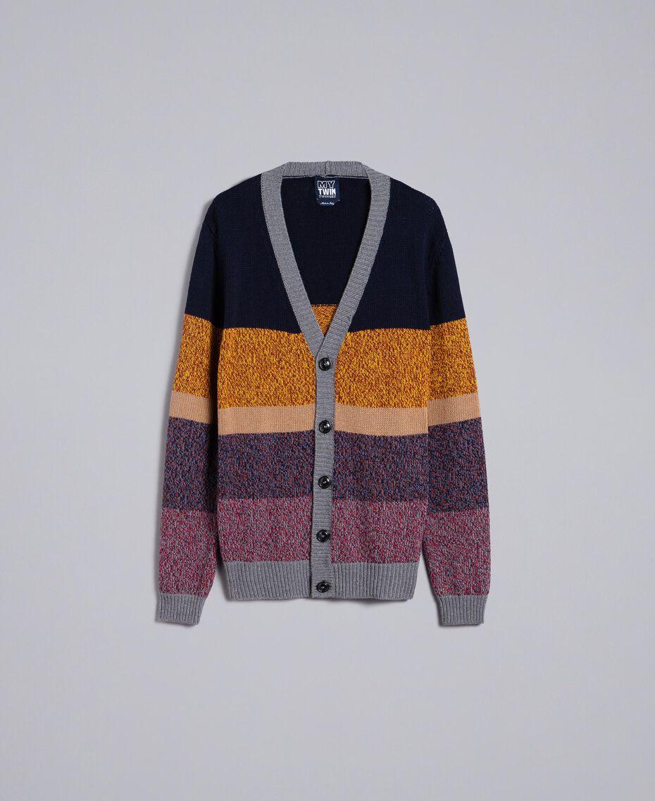 Colour block wool blend cardigan Multicolour Mouliné Man Man UA83GB-0S