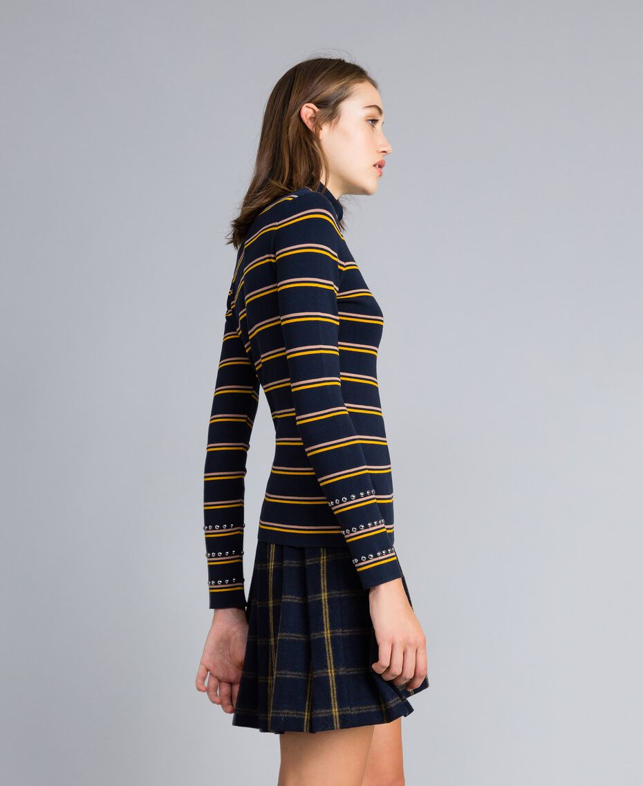 Two-tone striped viscose mock neck jumper Night Blue / Golden Yellow / Caramel Stripe Woman YA83DD-02