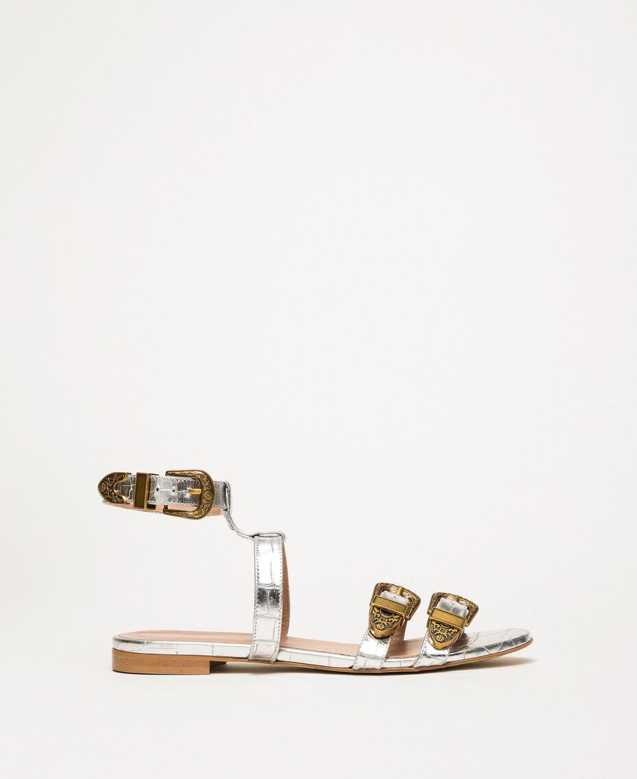 "Flache Sandale aus Leder mit Krokoprägung Print Kroko ""Titan""-Grau Frau 201TCP054-02"