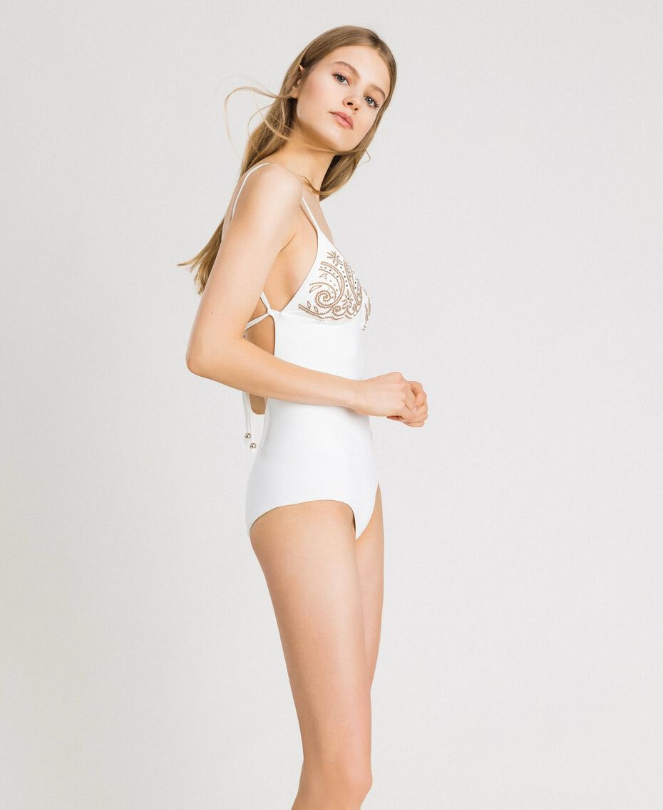 One-piece swimsuit with rhinestones Ivory Woman 191LMMR00-02
