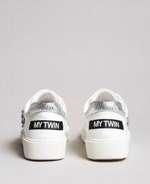 Kunstleder-Sneakers mit Steinen White Sahne Frau 191MCP032-03