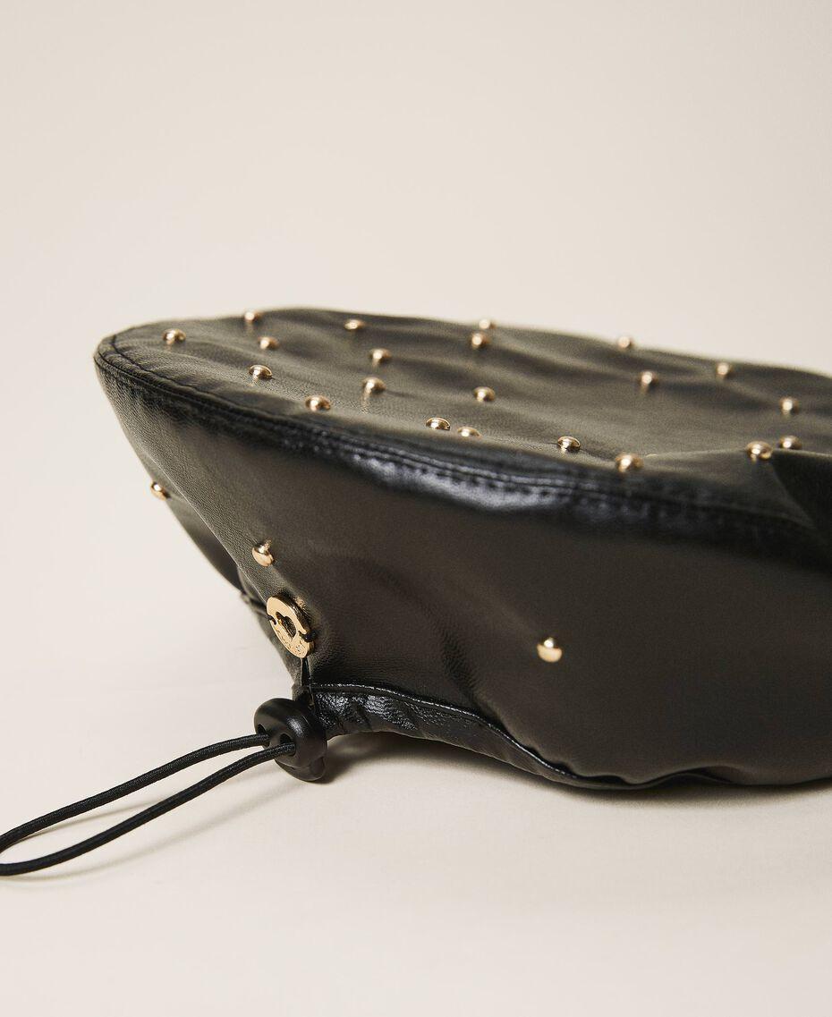 Bonnet modèle béret en similicuir avec clous Noir Enfant 202GJ4930-02