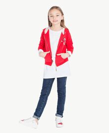 """Maxi T-shirt with pocket Two-tone """"Papyrus"""" White / Pomegranate Red Child GS82KB-06"""