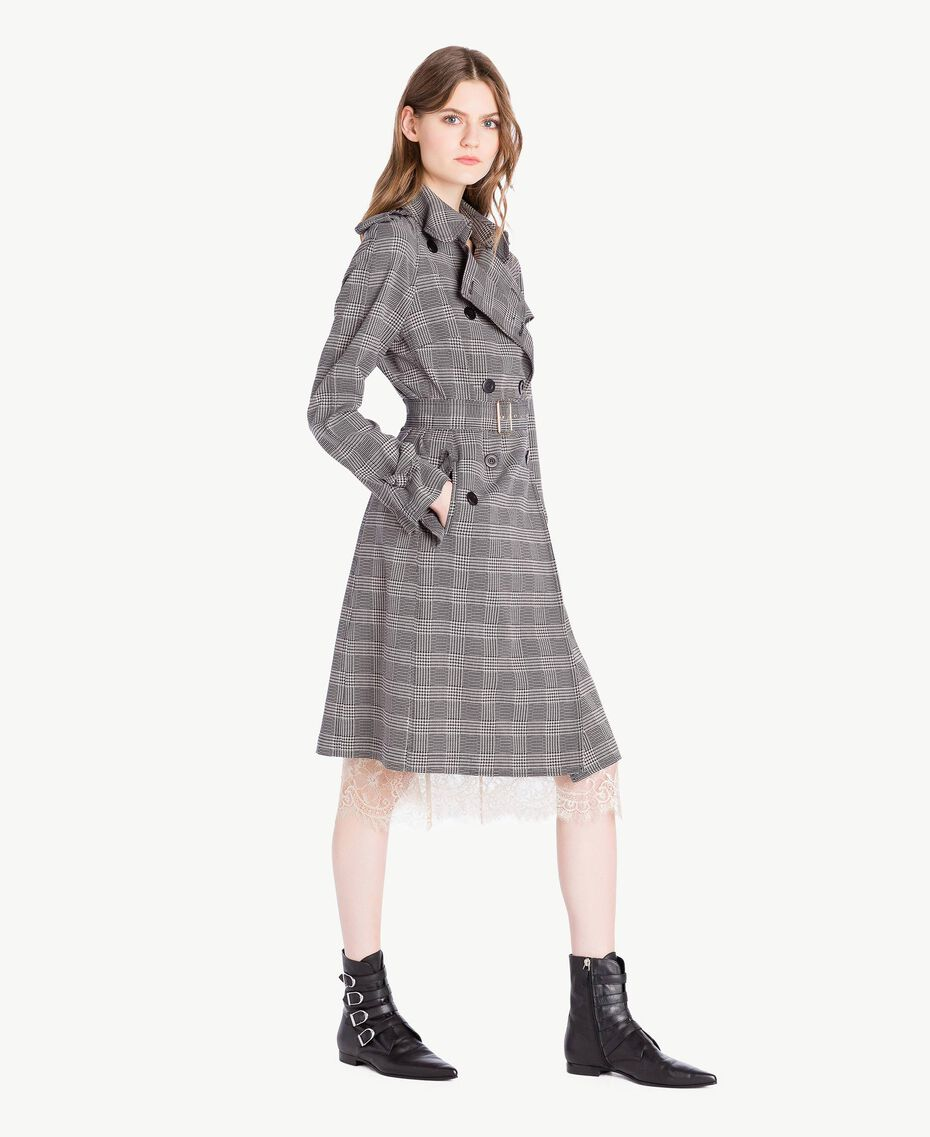Check trench coat Jacquard Gingham Woman PS827N-02