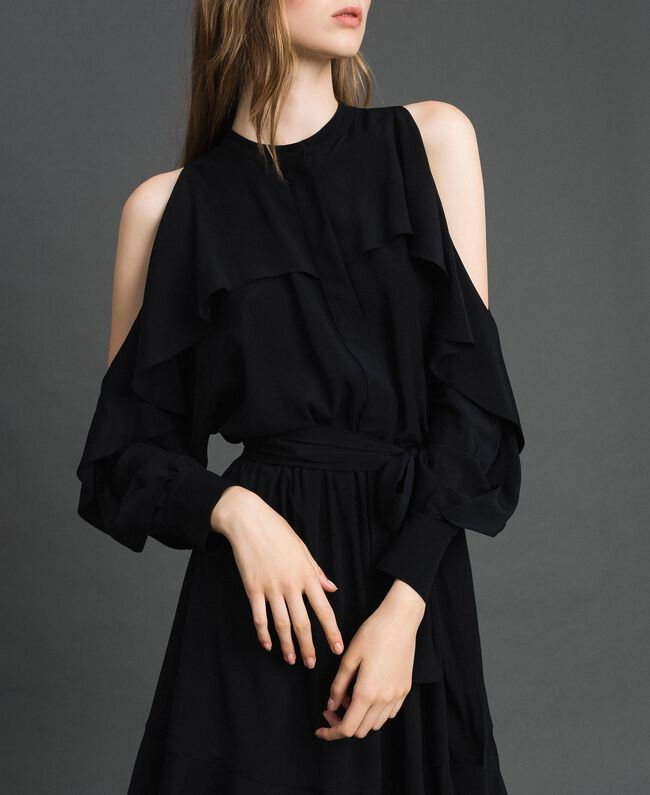 Crêpe de Chine dress with frills Black Woman 192TT2436-03