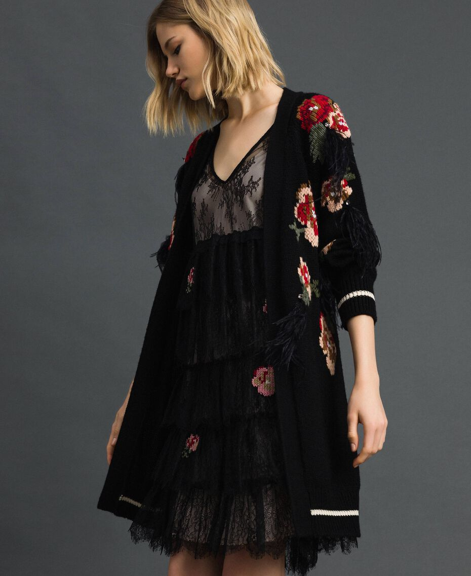 Maxi cardigan with floral jacquard and embroidery Black Woman 192TP3322-01