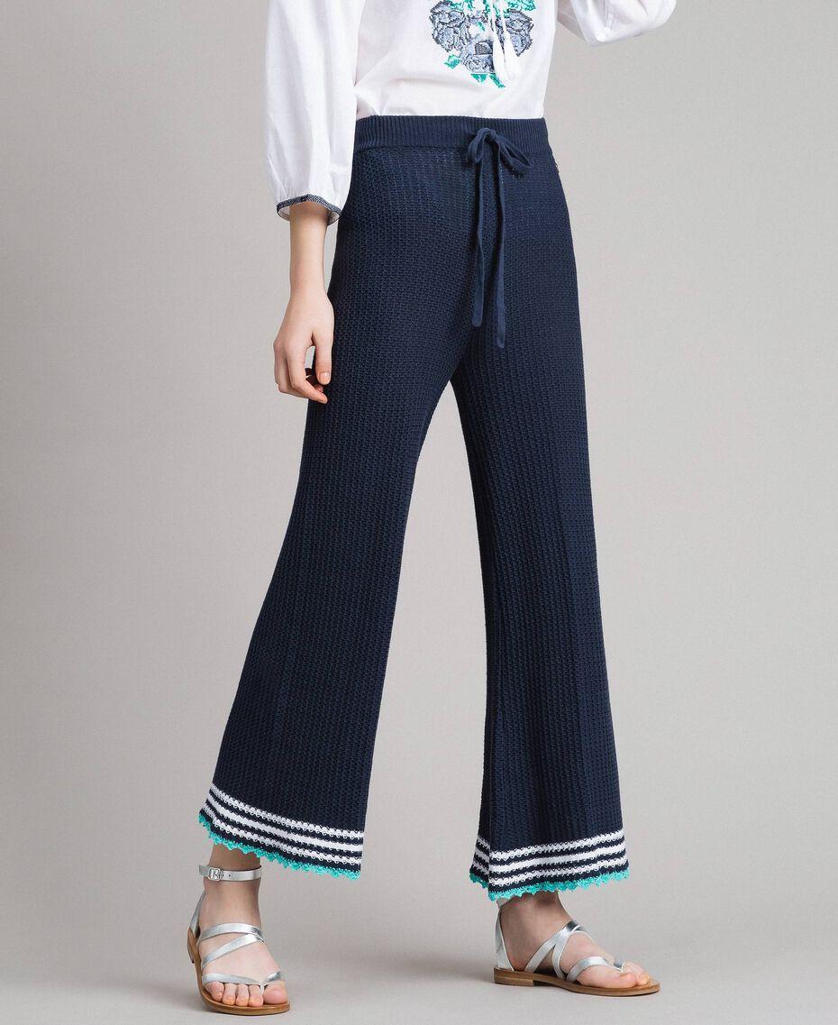 Pantaloni palazzo in maglia Multicolor Blunight / Off White / Pool Blue Donna 191MT3081-02