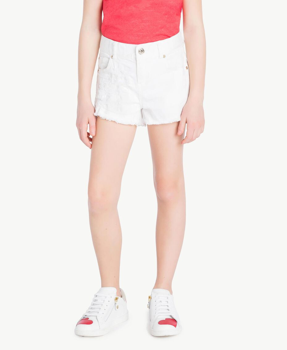 "Short franges Blanc ""Papers"" Enfant GS82CB-02"