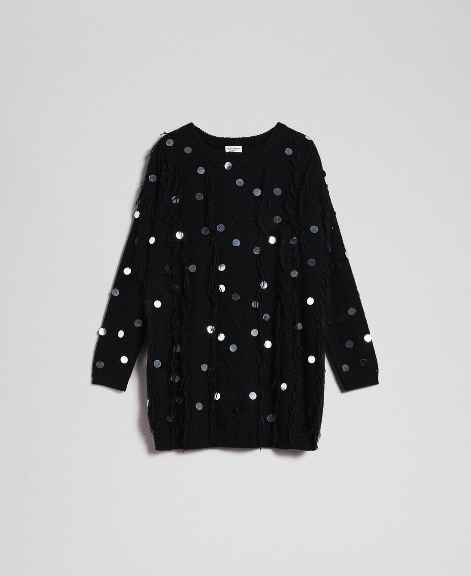 Mohair and wool maxi jumper with sequins Black Woman 192ST3020-0S