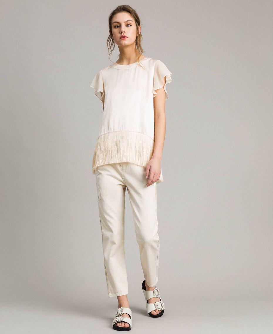"""T-shirt en satin avec franges Beige """"Voie Lactée"""" Femme 191LM2BBB-02"""