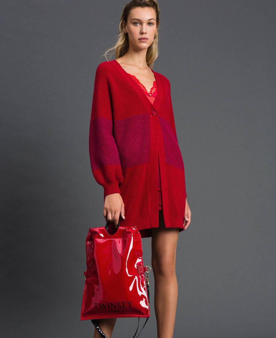 Petit sac cabas repliable en similicuir Rouge Grenade Femme 192TA7174-0T