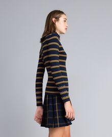 Two-tone striped viscose mock neck jumper Night Blue / Golden Yellow / Caramel Stripe Woman YA83DD-02