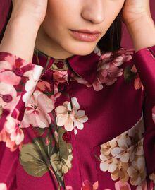 Camisa larga con estampado de flores Estampado Rojo Beet Geranio Mujer 192TP2608-04