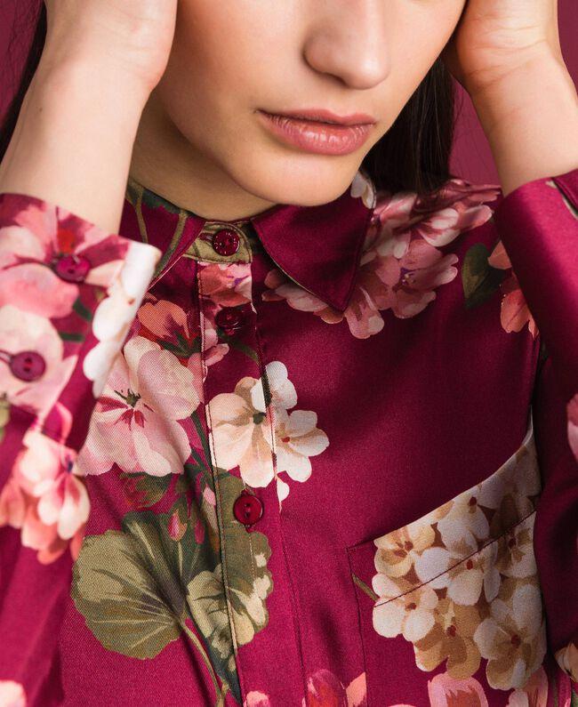 Chemise longue avec imprimé floral Imprimé Rouge Betterave Géranium Femme 192TP2608-04