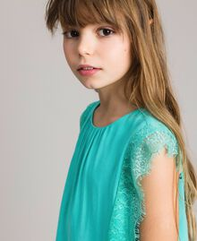 """Blouse in flowing fabric with lace """"Island Paradise"""" Light Blue Child 191GJ2432-04"""