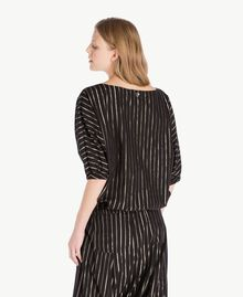 Jacquard blouse Black Jacquard / Gold Stripes Woman TS82VD-03