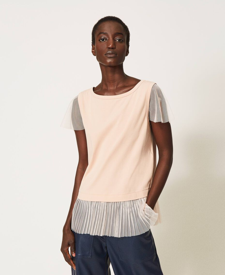T-shirt with pleated flounce Black Woman 202MP2391-01