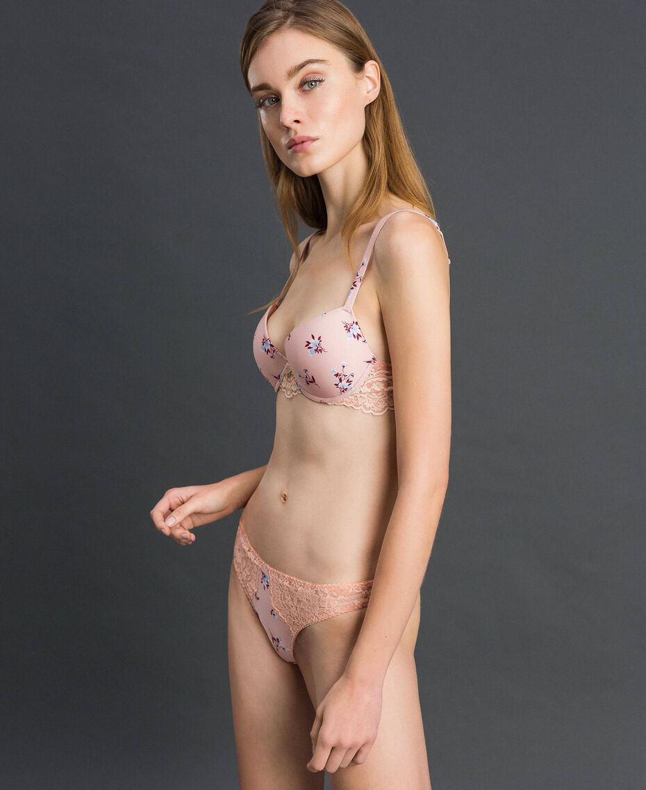 """Floral print G-string with lace """"Peach"""" Pink Tiny Flower Print Woman 192LL6K88-01"""
