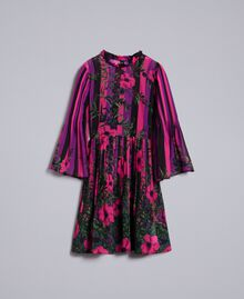Floral print chiffon dress Flower&Stripes Print Woman TA829Q-0S