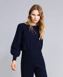Pull boxy en laine et cachemire Bleu Nuit Femme TA83AD-02